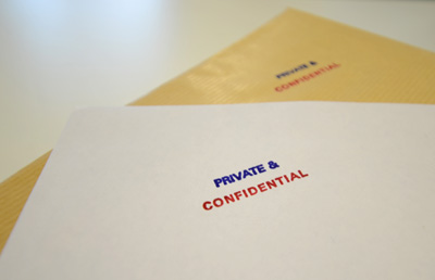 Photograph of sealed envelopes
