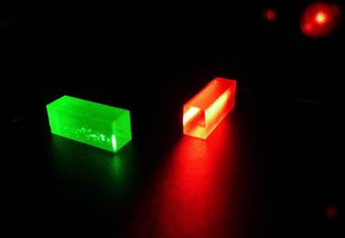Crystals containing the quantum data after the teleportation has taken place
